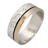 Серебряное кольцо с фианитами и золотой вставкой Джоли