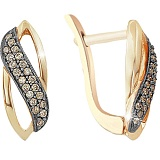 Золотые серьги с коньячными бриллиантами Корделия