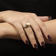 Золотое кольцо Цветочная мелодия с белым жемчугом и бриллиантами