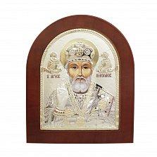 Православная икона Святой Николай на основе под дерево, гальванопластика,18,6х15,8см