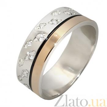 Серебряное кольцо с фианитами и золотой вставкой Джоли BGS--696к