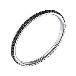 Кольцо из белого золота с черными фианитами 000061684