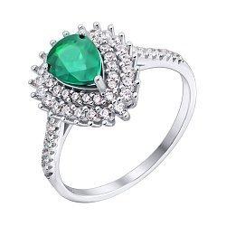 Серебряное кольцо с изумрудом и фианитами 000117792