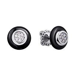 Серебряные серьги-пуссеты Сайма с черной керамикой и фианитами