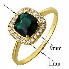 Золотое кольцо Мирабель в желтом цвете с зеленым кварцем и фианитами