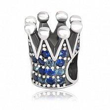 Серебряный подвес-шарм Корона с фианитами
