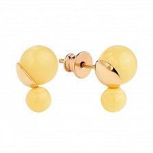 Позолоченные серебряные серьги-пуссеты Мангисер в позолоте с двумя бусинами лимонного янтаря