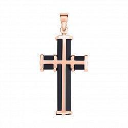 Декоративный крестик из красного золота с черным каучуком 000004853