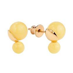 Позолоченные серебряные серьги-пуссеты в позолоте с двумя бусинами лимонного янтаря 000118951