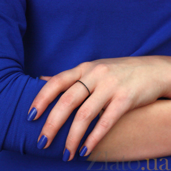 Кольцо в белом золоте Аюна с черными фианитами 000010215