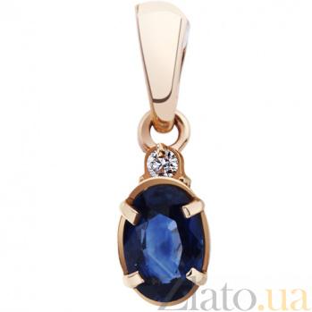 Золотой кулон с бриллиантом и сапфиром Чародейка AUR--34330 46