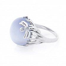 Серебряное кольцо Стрекоза на цветке с голубым улекситом и фианитами