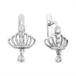 Серебряные серьги Корона с фианитами и подвеской