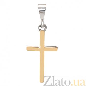 Серебряный крестик с золотыми вставками Мир в душе BGS--659п