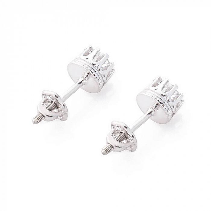 Серебряные серьги-пуссеты Аяна с цирконием 000080188