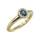 Золотое кольцо с сапфиром и бриллиантами Сиеста