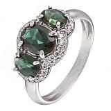 Серебряное кольцо с зеленым кварцем и фианитами Аврора