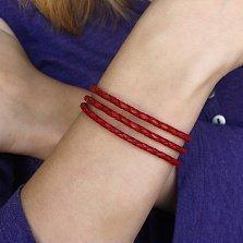 Двойной красный кожаный браслет Мирра с серебряным замком