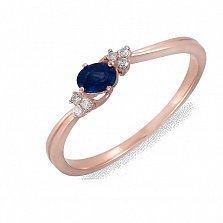 Золотое кольцо Ниала с сапфиром и бриллиантами