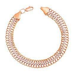 Браслет из красного и белого золота с алмазной гранью 000103641