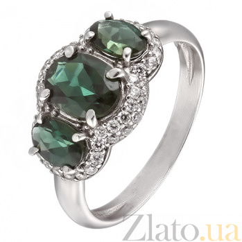 Серебряное кольцо с зеленым кварцем и фианитами Аврора 1658/9р зел кварц
