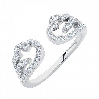 Серебряное разомкнутое кольцо с фианитами 000116362