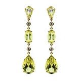 Золотые серьги с бриллиантами и цитринами Blanche