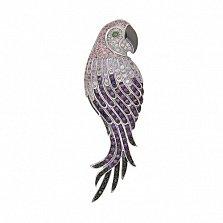 Брошь из белого золота Королевский попугай