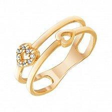 Кольцо из красного золота Сердечные пути с фианитами