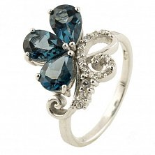 Серебряное кольцо Элеонора с топазом лондон и фианитами