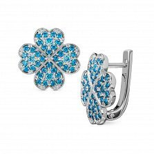 Серебряные серьги Удача в любви с голубой шпинелью