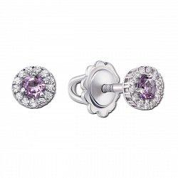 Серебряные серьги-пуссеты с аметистами и цирконием, 7мм 000010287