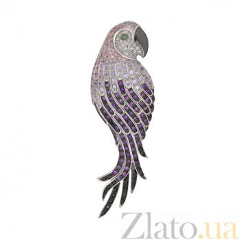 Брошь из белого золота Королевский попугай VLT--ТТ404