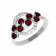 Серебряное кольцо Алина с гранатами и фианитами