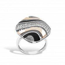 Серебряное кольцо Даниэла с золотыми накладками, фианитами и черной эмалью