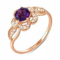 Кольцо из красного золота с аметистом и фианитами 000137143
