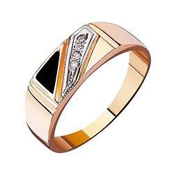 Перстень-печатка из красного золота с агатом и фианитами 000001102
