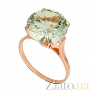 Золотое кольцо с зеленым аметистом Диодора VLN--112-005-5