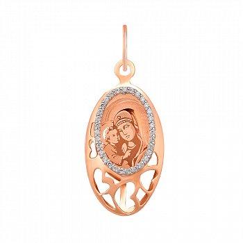 Золотая ладанка Мадонна в комбинированном цвете с ажурными сердечками и фианитами 000119550