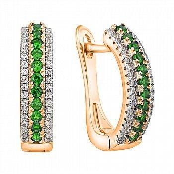 Срібні сережки з позолотою, зеленими та білими фіанітами 000052301
