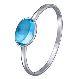 Кольцо в белом золоте Олеся с голубым топазом