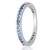 Серебряное кольцо Рувайда с голубым цирконием