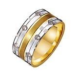 Золотое обручальное кольцо Правильный акцент с фианитами