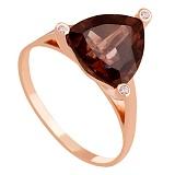 Золотое кольцо с раухтопазом и фианитами Хлоя