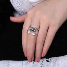 Серебряное кольцо Алания с фианитом и подвеской в виде бабочки