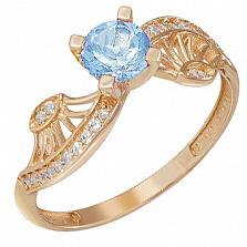 Золотое кольцо Эврика с голубым топазом и фианитами