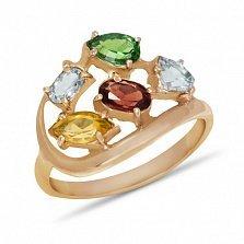 Золотое кольцо Дафна с синтезированным рубином, цитрином, топазом и изумрудом