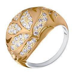 Серебряное кольцо с фианитами и позолотой 000132886