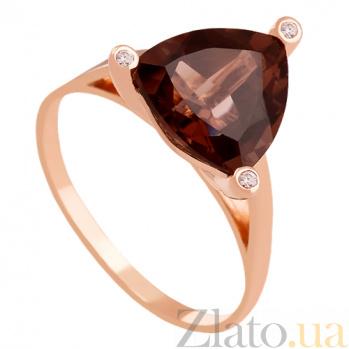 Золотое кольцо с раухтопазом и фианитами Хлоя 000029475