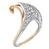Золотое кольцо Волна с фианитами